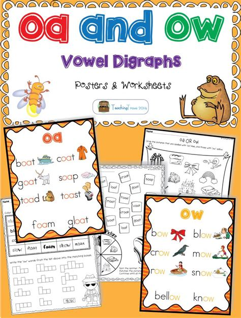 ow pattern words oa and ow vowel digraphs posters and worksheets
