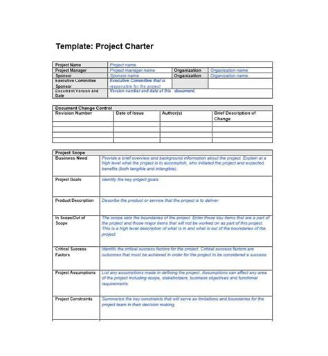 template archive 40 project charter templates sles excel word