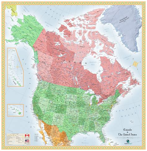 map of canada and usa usa and canada wall map maps
