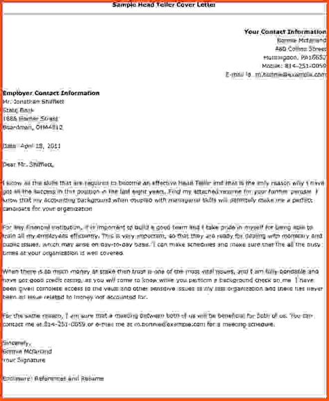 How To Head A Letter.sample Head Teller Cover Letter