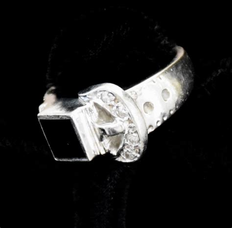18k white gold and onyx buckle ring twentieth