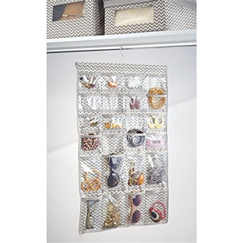 interdesign chevron fabric storage hanging jewelry closet