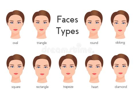different face shapes need different kinds of makeup set of different woman face types female face shapes