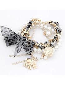 Flirty White Elephant Pearl Korean Fashion Bracelet health white bow elephant design alloy korean fashion