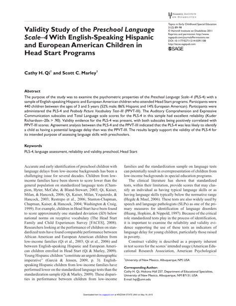 preschool language scale 5 sle report validity study of the preschool language scale 4 with