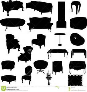 White Desk Chairs Furniture Silhouettes Royalty Free Stock Photos Image