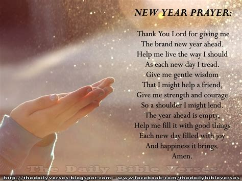 daily bible verses new year prayer