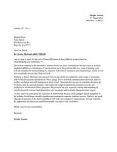 Senior Mechanic Cover Letter Sample