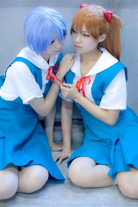 Asuka Blouse ayanami rei blouse blue blue hair hair pods jumper kneehighs neon genesis