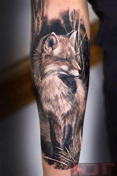 black and grey fox tattoo fox sleeve best tattoo ideas designs tattoos and