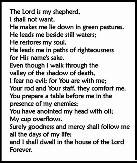 printable version of psalm 23 psalm 23