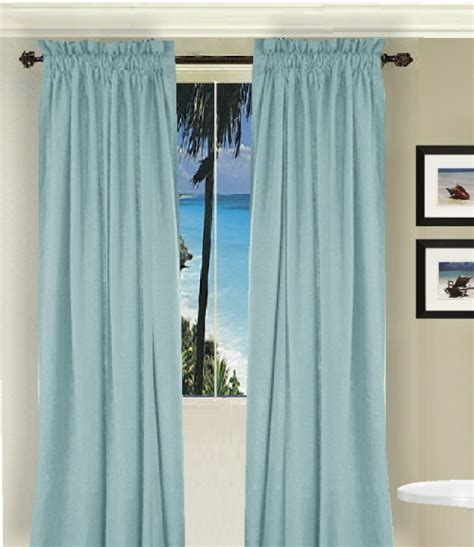 solid light baby blue colored window curtain