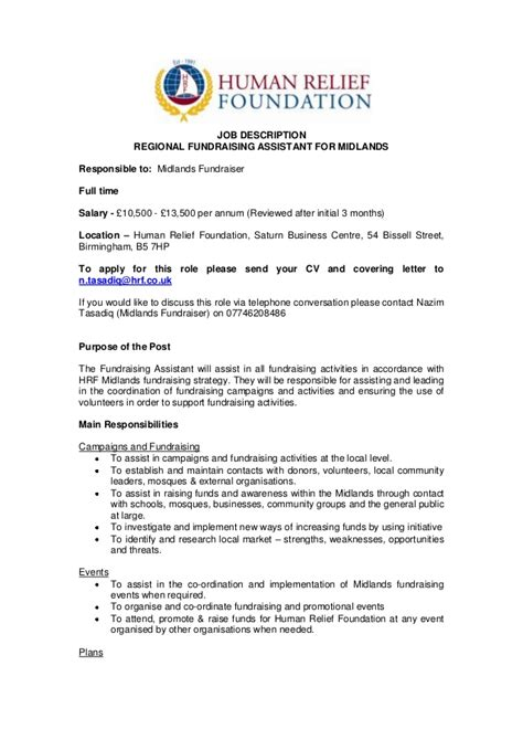 Fundraiser Description by Description Fundraising Assistant Hrf Midlands