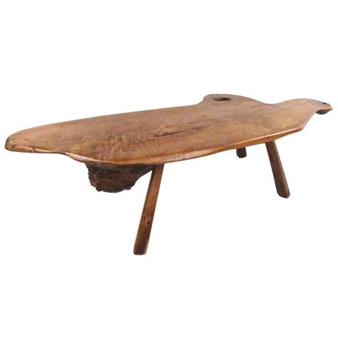 vintage rustic free edge tree slab coffee table for sale