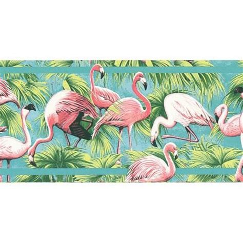 flamingo wallpaper border brewster pink aqua flamingos in the grass border 144b87705