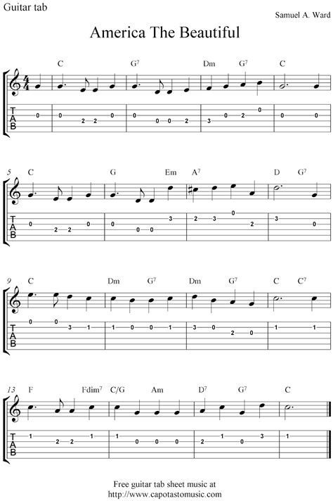 printable sheet music guitar free easy guitar tablature sheet music america the beautiful