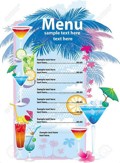 cocktail menu template free drink menu templates 30 free psd eps documents