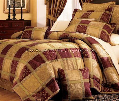 Patchwork Comforter - 7 burgundy patchwork cal king comforter set ebay