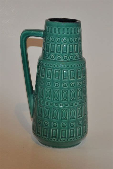 scheurich vase with handle turquoise green vintage