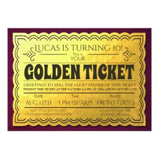 golden ticket invitation template free golden ticket invitations announcements zazzle au