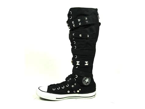 xx hi knee high converse all black studded boots with