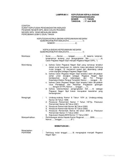 format surat pengunduran diri pegawai negeri sipil contoh surat keputusan pengangkatan pns images