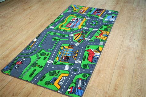 Large Children S Rug 94cm X 164cm Play Mat Car Village Car Rug