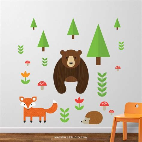Woodland Animals Wall Stickers nursery wall decals and kids wall stickers by maxwill studio