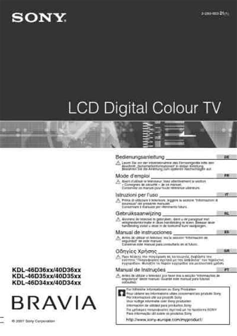 Sony Bravia Kdl 46d3500 Tv Television Download Manual For