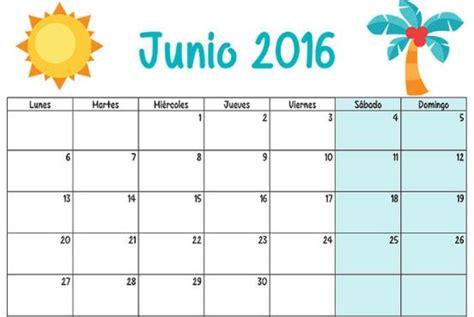 Calendario Mes Calendarios Mes De Junio 2016