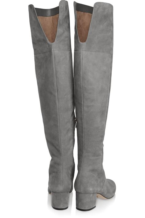 sam edelman the knee boots sam edelman elina suede the knee boots in gray lyst