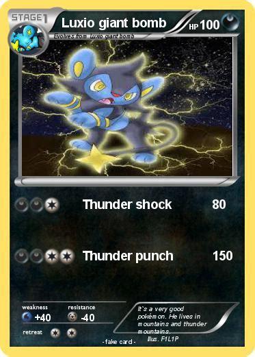 Shock Luxio Pok 233 Mon Luxio Bomb Thunder Shock My Card