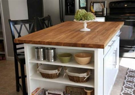 Kitchen Island Ideas Diy Simple And Diy Kitchen Island Decorating Ideas With Wood Countertop And White Island