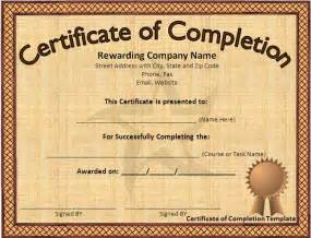 free template certificate of completion free certificate of completion template word excel pdf