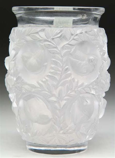 lalique bird vase lalique glass vase birds in branches clear frosted 7