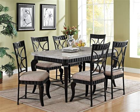 Marble Dining Room Table Set White Marble Black Dining Table Set Modern Transitional Style Dining Room 7pc Ebay