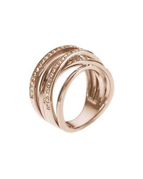 Michael Kors Ring by Michael Kors Pave Stacked Ring Golden In Pink 7 Lyst