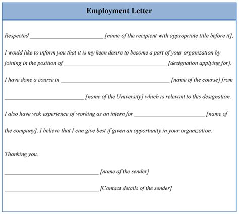 Letter Of Employment Template   sadamatsu hp
