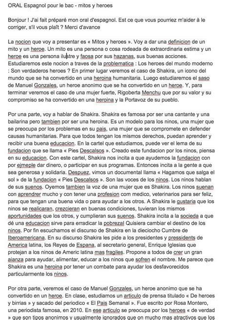 Présentation Lettre Espagnol Bac Espagnol Pour Le Bac Mitos Y Heroes Bonjour J Ai Un