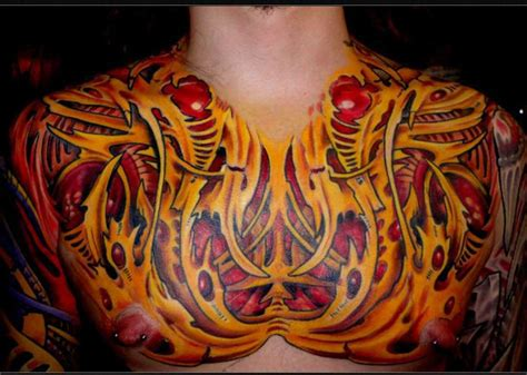biomechanical tattoo in colour sasha67 biomechanical chest color chest biomechanical biomech