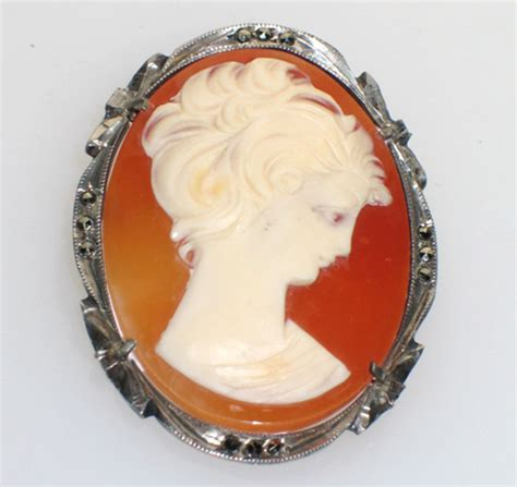 cameos for jewelry antique 800 silver marcasite looking cameo pin