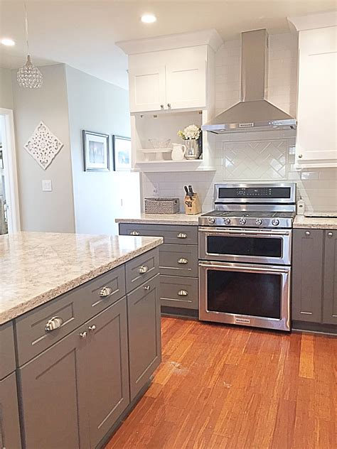 cambria quartz berwyn two tone kitchen gray and white