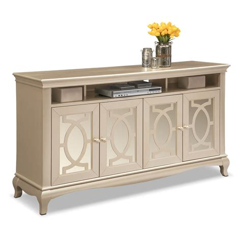 Modern Indoor Benches Allegro Tv Credenza Platinum American Signature Furniture