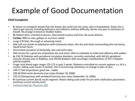Chief Complaint Documentation Guidelines