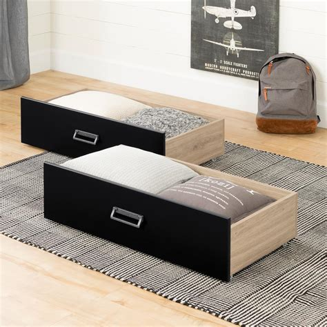 The Bed Storage On Wheels by South Shore Induzy Rustic Oak And Matte Black Drawers On