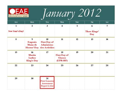 Calendario Academico Uprrp Uprrp Calendario 2011