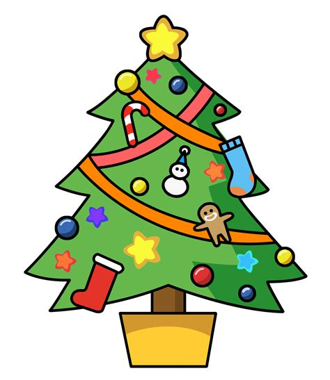 cartoon christmas tree december clip tree outline clipart panda free clipart images