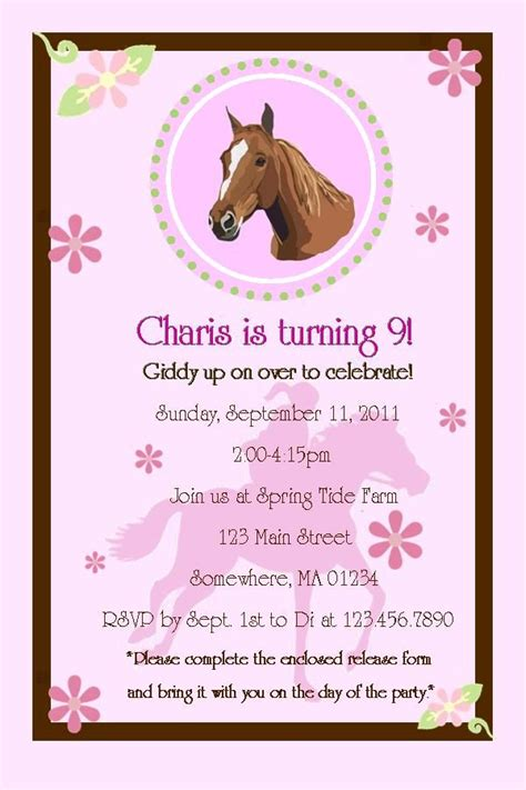 free printable horse birthday party invitations drevio 138 best images about horse theme birthday party on