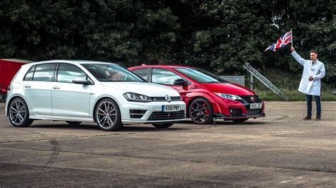 type r volkswagen honda civic type r vs vw golf r top gear drag races