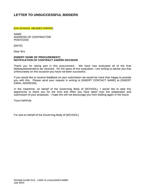 letter unsuccessful bidders fill printable